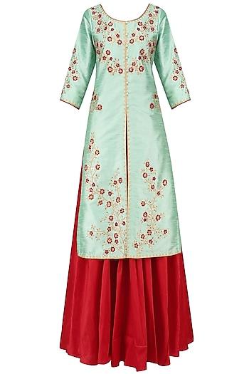 Turquoise Blue Kurta Jacket with Red Lehenga Skirt and Dupatta by Breathe By Aakanksha Singh
