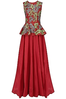 Red Embroidered Peplum Top and Skirt Set by Breathe By Aakanksha Singh