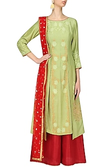 Green Kurta with Red Palazzo and Dupatta by Breathe By Aakanksha Singh
