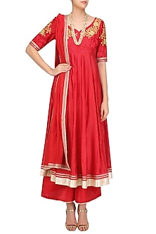 Red Floral Embroidered Anarkali and Palazzo Pants Set by Breathe By Aakanksha Singh