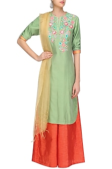Lime Green Floral Embroidered Kurta with Orange Palazzo Pants by Breathe By Aakanksha Singh
