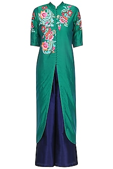 Emerald Green Floral Embroidered Kurta with Purple Palazzo Pants by Breathe By Aakanksha Singh