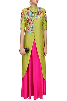 Lime Green Floral Embroidered Kurta and Pink Skirt Set by Breathe By Aakanksha Singh