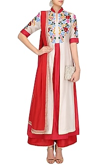 Red Floral Embroidered Kurta with Red Palazzo Pants by Breathe By Aakanksha Singh