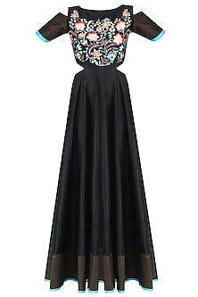 Black Floral Embroidered Cold Shoulder Anarkali Kurta by Breathe By Aakanksha Singh
