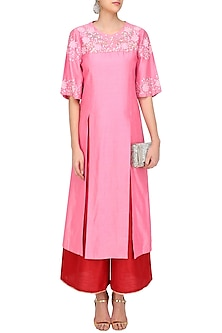 Old Rose Floral Embroidered Kurta with Red Straight Pants Set by Breathe By Aakanksha Singh