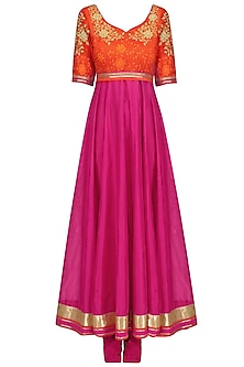 Hot Pink Zari Embroidered Flared Anarkali Set by Breathe By Aakanksha Singh