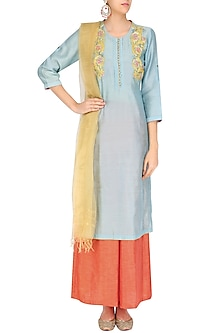 Powder Blue Floral Embroidered Kurta and Peach Pants Set by Breathe By Aakanksha Singh