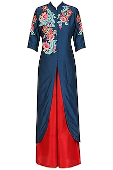 Navy Blue Blue Floral Embroidered Kurta and Red Pants Set by Breathe By Aakanksha Singh