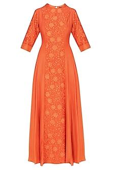 Deep Orange Floral Embroidered Kalidaar Kurta Set by Breathe By Aakanksha Singh