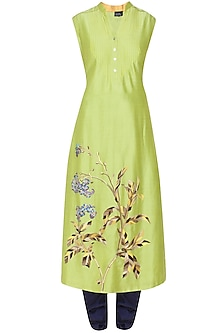 Lime Green Floral Embroidered Kurta and Blue Churidaar Pants Set by Breathe By Aakanksha Singh