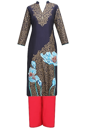 Navy Blue Floral Embroidered Straight Kurta and Red Palazzo Pants Set by Breathe By Aakanksha Singh