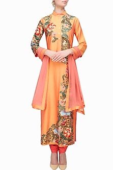 Sunset Orange Floral Embroidered Kurta Set by Breathe By Aakanksha Singh