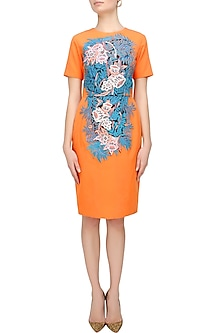 Tangerine Floral Embroidered Midi Dress by Breathe By Aakanksha Singh