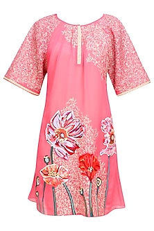 Old Rose Pink Floral Embroidered Tunic by Breathe By Aakanksha Singh