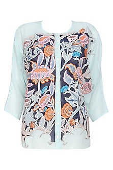 Light Blue Floral Embroidered Loose Top by Breathe By Aakanksha Singh