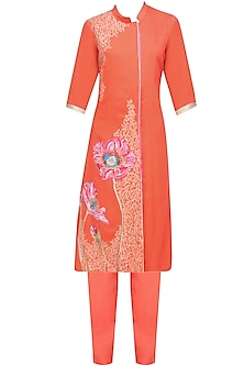 Orange Floral Embroidered Straight Kurta and Pants Set by Breathe By Aakanksha Singh