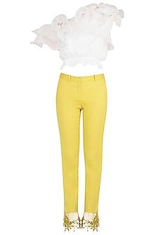 White Ruffled Crop Top with Iris Yellow Tasseled Pants by Babita Malkani