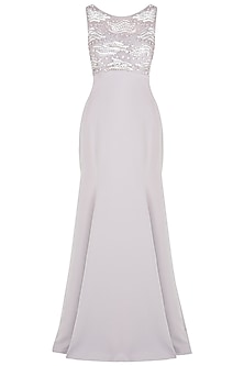 Lilac Fishtail Embroidered Gown by Babita Malkani