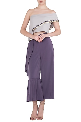 Purple Asymmetrcial Off Shoulder Top with Ruffled Culottes by Babita Malkani
