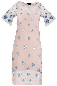 Beige Sequins Embellished Shift Dress by Babita Malkani