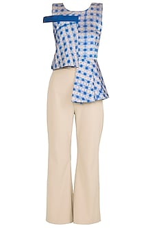Blue Textured Azure Peplum Croptop with Flared Pants by Babita Malkani