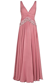 Flamingo Pink Sequins Embellished Gown by Babita Malkani