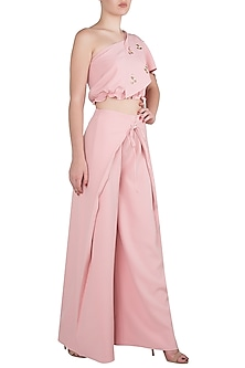 Flamingo Pink One Shoulder Crop Top with Pants by Babita Malkani