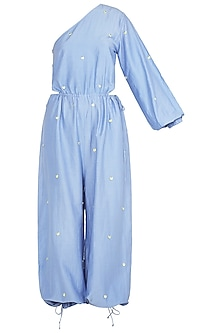 Blue One Shoulder Jumpsuit by Babita Malkani