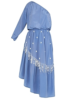 Blue Asymmetrical One Shoulder Ruffled Dress by Babita Malkani