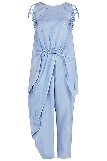 Dusk Blue Asymmetrical Tassel Embellished Top with Draped Pants by Babita Malkani