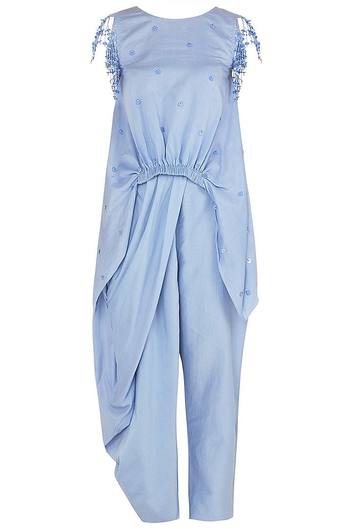 Dusk Blue Asymmetrical Tassel Embellished Top with Draped Pants by Babita Malkani