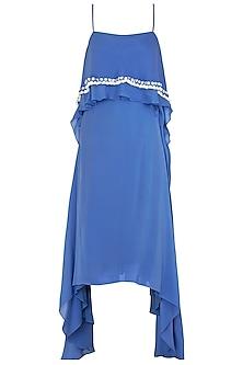 Blue Asymmetrical Off Shoulder Sequins Maxi Dress by Babita Malkani
