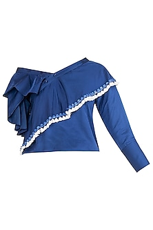 Blue Drop Shoulder Ruffled Top by Babita Malkani
