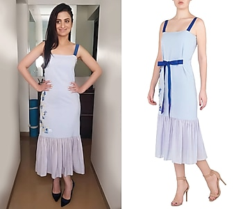 Dark Blue Applique Work Midi Dress by Babita Malkani