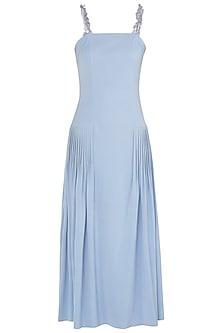 Dusk Blue Embroidered Pleated Midi Dress by Babita Malkani