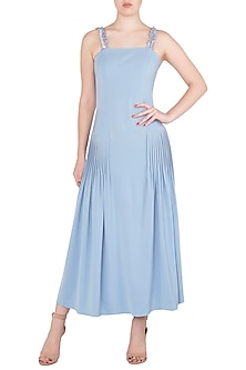 Dusk Blue Embroidered Pleated Midi Dress by Babita Malkani