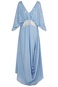 Dusk Blue Embellished Drape Maxi Dress by Babita Malkani