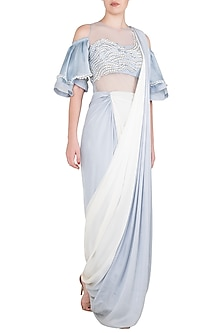 Dusk Blue To White Ombre Embroidered Saree Gown by Babita Malkani