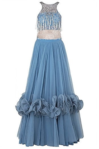 Blue Embroidered Sheer Crop Top with Lehenga Skirt by Babita Malkani
