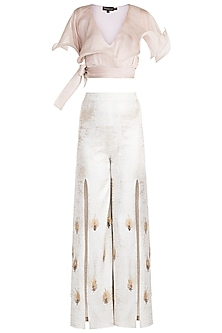Sand Beige Ruffled Crop Top With Frosty White Embellished Trouser Pants by Babita Malkani