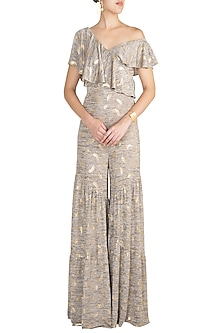 Stone Grey One Shoulder Ruffled Jumpsuit by Babita Malkani