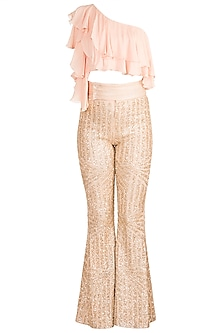 Gold Sequins Pants With Blush Pink One Shoulder Top by Babita Malkani