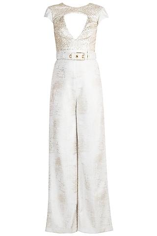 Frosty White Foil Jumpsuit With Belt by Babita Malkani