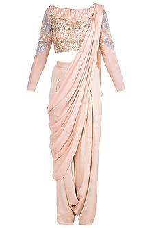Blush Pink Sheer Crop Top With Bralette, Low Crotch Pants & Detachable Drape by Babita Malkani