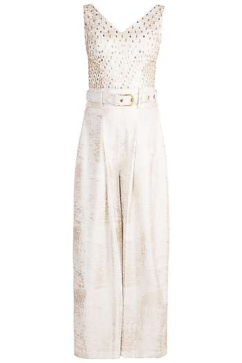 Frosty White Foil Pleated Jumpsuit With Belt by Babita Malkani