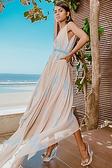 Powder Blue & Sand Beige Hand Dyed Maxi Dress With Belt by Babita Malkani