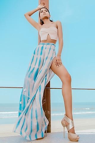 Beige V-Slit Bralette With Powder Blue Flared Pants by Babita Malkani