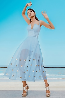 Powder Blue Asymmetric Layered Bodycon Dress With Embellished Skirt by Babita Malkani