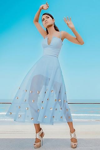 Powder Blue Asymmetric Layered Bodycon Dress With Embellished Skirt by Babita Malkani